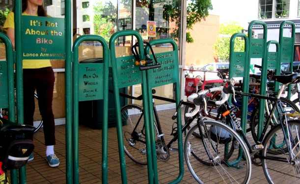 Bike rack outside Powell's books